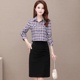 气质减龄,修身长袖格子衬衫+连衣裙两件套YW-YJY-Q8807