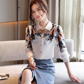 YHSS817635新款时尚优雅气质印花长袖衬衣TZF