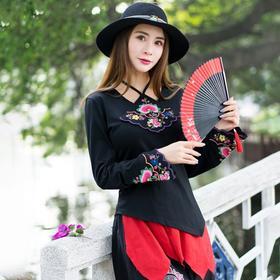 复古民族风,绣花长袖T恤修身上衣FMN-JW3026