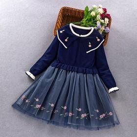 ALBL2022新款儿童绣花翻领洋气公主裙TZF