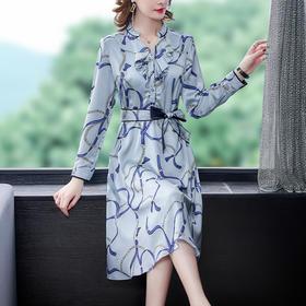 AHM-ymy5109新款时尚优雅气质收腰荷叶边V领长袖印花连衣裙TZF