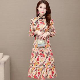 修身气质,优雅长袖印花改良版旗袍连衣裙YW-YJ-C811