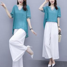 时尚棉麻上衣+阔腿裤两件套HR-ZMFS20577