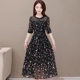 修身显瘦,中长款时尚气质长袖印花连衣裙YW-YJ-X01
