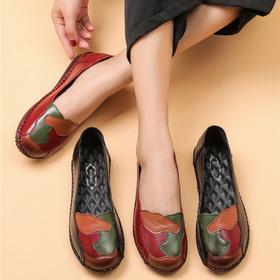 LN-A535新款时尚气质拼色圆头浅口平底鞋TZF