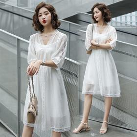 时尚优雅,仙气飘飘网纱吊带两件套连衣裙HR-XHBH2030
