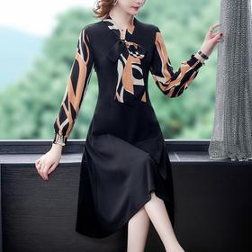 AHM-ymy5110新款时尚优雅气质收腰显瘦蝴蝶结领长袖印花连衣裙TZF