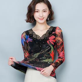 YHSS603832新款时尚气质V领长袖网纱印花打底衫TZF