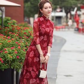 XGT-Q2341新款中国风优雅气质改良立领七分袖网布绣花旗袍裙TZF