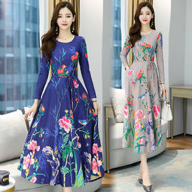 NYL261056新款时尚优雅气质收腰圆领长袖印花连衣裙TZF