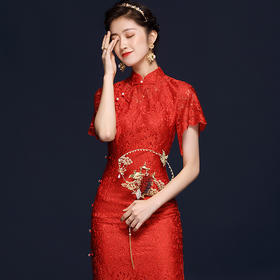 OYCP20539新款中国红色刺绣旗袍TZF