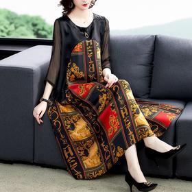 NYL3092987新款优雅气质宽松遮肚显瘦圆领七分袖拼接印花连衣裙TZF