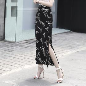 SXFS1067新款时尚优雅气质印花开叉半身裙TZF