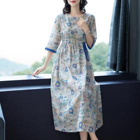 NYL3667100新款时尚气质修身碎花连衣裙TZF