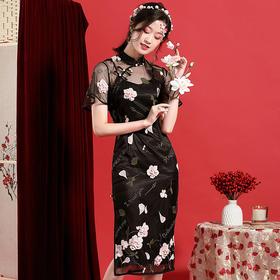 OYCP20183新款中国风优雅气质改良立领短袖蕾丝刺绣旗袍裙TZF