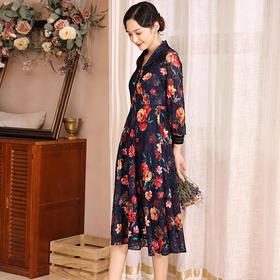 DLQ-A2680新款复古蕾丝绣花轻奢名媛连衣裙TZF