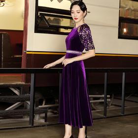 DLQ-A2672新款优雅气质高级质感丝绒连衣裙TZF
