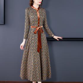 AHM-yqwl6606新款优雅气质修身显瘦九分袖丝绒印花大摆连衣裙TZF