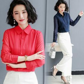 NYL01831新款时尚气质翻领长袖条纹职业雪纺衫TZF