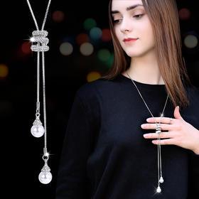CHT-jh新款时尚气质百搭流苏人造珍珠吊坠毛衣链TZF