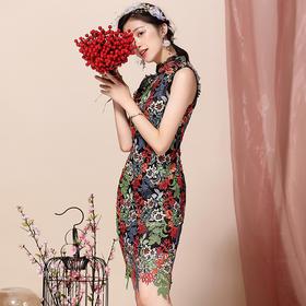 OYCP20188新款中国风优雅气质改良立领水溶刺绣旗袍裙TZF