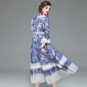 BHS020104003新款时尚优雅气质拼接蕾丝印花大摆连衣裙TZF