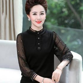 XXY600214373753新款时尚优雅气质休闲圆领长袖拼接打底衫TZF