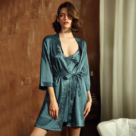 WDF361新款时尚优雅气质性感雪纺吊带睡袍斜纹家居服两件套TZF