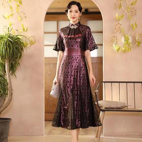 DLQ-A2583新款高端优雅气质改良立领短袖礼服裙TZF