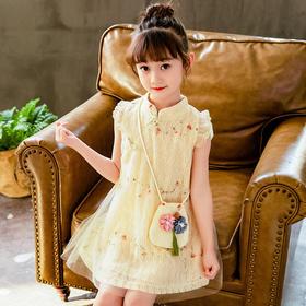 GYFZ82114新款时尚气质立领短袖七彩蕾丝旗袍裙TZF