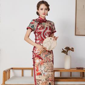 FD-QC1697936新款优雅气质修身手工盘扣立领短袖真丝印花长款旗袍裙TZF