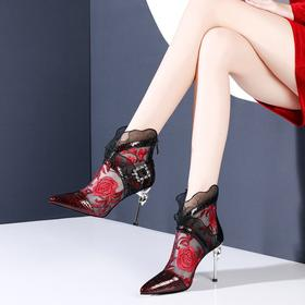 OLD-N61-F2806新款民族风优雅气质真皮拼接蕾丝绣花高跟凉靴TZF