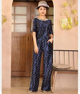 DLQ-A2712新款时尚优雅气质圆领短袖丝绒印花上衣阔腿裤两件套TZF