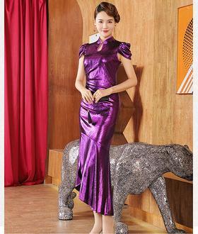 DLQ-A2589新款时尚优雅气质高端立领短袖亮紫色礼服裙TZF