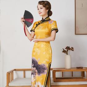 FD-QC1697948新款优雅气质修身立领手工盘扣短袖真丝印花旗袍裙TZF