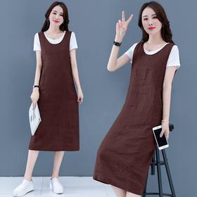 AHM-xln110新款时尚优雅气质宽松棉麻背带裙两件套TZF