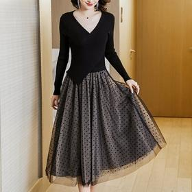 NYL3667020新款时尚气质修身显瘦V领长袖拼接中长款连衣裙TZF