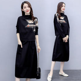 HRFS-WM29909新款优雅气质宽松星形印花上衣半身裙两件套TZF