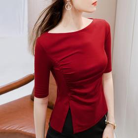 SGFS-AL301016新款潮流时尚气质收腰一字领五分袖开叉褶皱T恤衫TZF