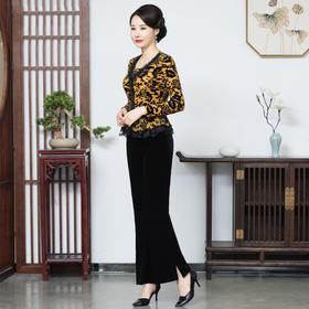 CMY5821新款时尚优雅气质蕾丝花边金丝绒打底衫TZF