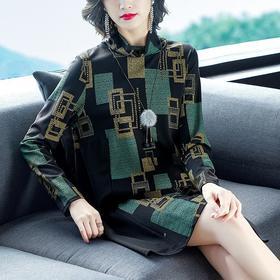NYL3036568新款时尚气质宽松半高领长袖印花连衣裙TZF