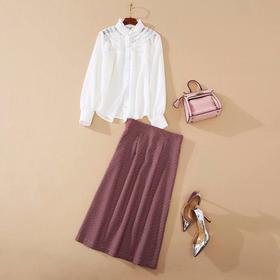 MYFS1548新款时尚气质休闲衬衫高腰格子半身裙两件套TZF