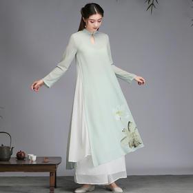 ZFN2085新款中国风优雅气质立领长袖雪纺手绘荷塘连衣裙TZF