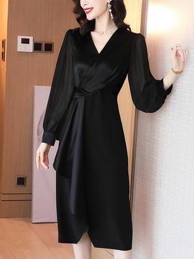 XFFS7273新款时尚优雅气质收腰显瘦V领长袖连衣裙TZF