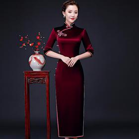 LHS-L06182新款优雅气质修身显瘦立领中袖长款旗袍裙TZF