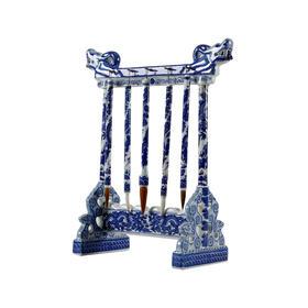 青花毛笔架 blue and white brush holder