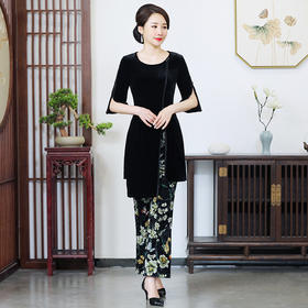 CMY5880新款时尚名媛气质修身显瘦丝绒上衣印花裤子两件套TZF