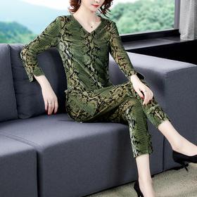 AHM-ymy7970新款时尚优雅气质V领长袖金丝绒上衣小脚裤两件套TZF