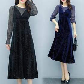 YHSS52658新款时尚优雅气质金丝绒吊带连衣裙两件套TZF