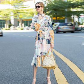 MYFS19177新款时尚优雅气质立领灯笼袖袖系带印花撞色连衣裙TZF